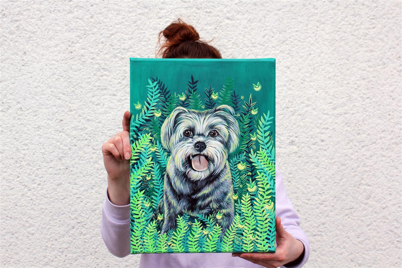 portret živali na platno, ilustracija kužka, dekoracija doma, unikatna darila, kresnicke in praprot