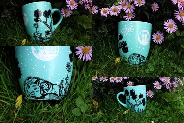 deklica in volk kolibri čarobna pokrajina pravljica lonček skodelica za kavo čaj