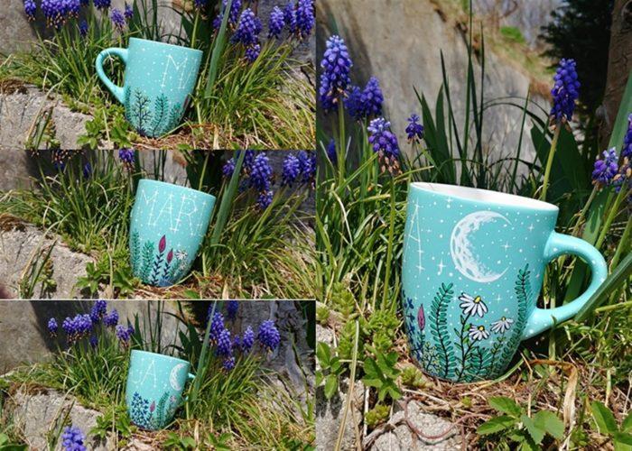 meadow name mug, travniška pokrajina ilustracije rož personaliziran lonček z imenom luno