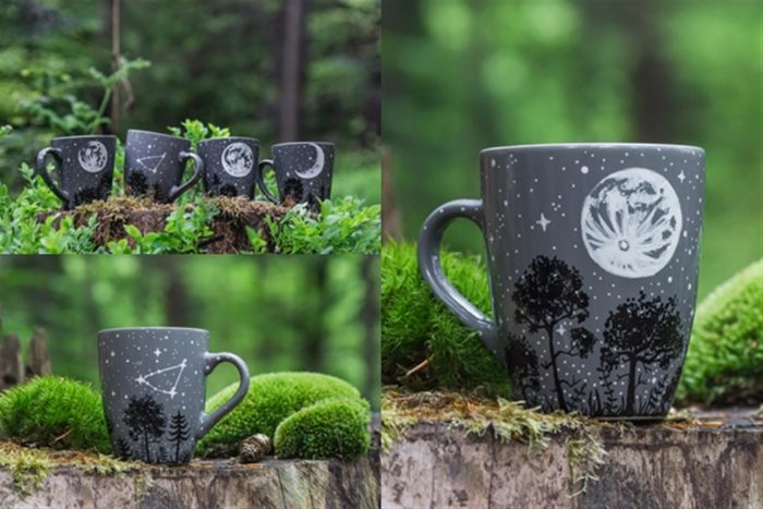 moon forest mugs, gozdna pokrajina, nočna scena, polna luna lonček za kavo