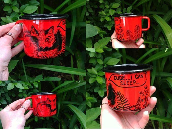 red fox enamel cup, lonček z lisičko rdeč